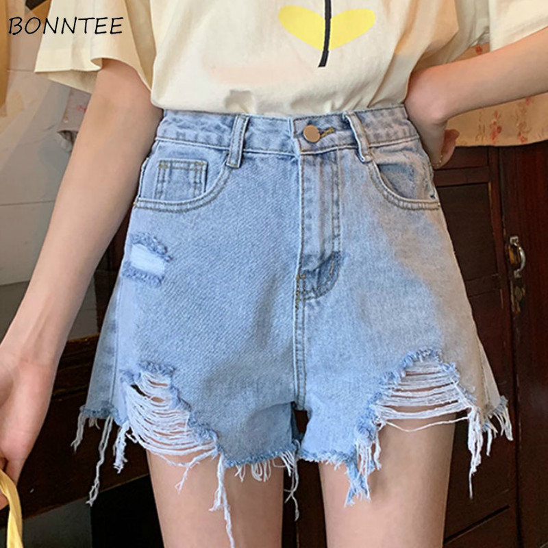 Shorts Women Summer Korean Style Short Female Hole Pockets Chic Womens Denim High Loose Tassel Button Solid Casual Student Flare