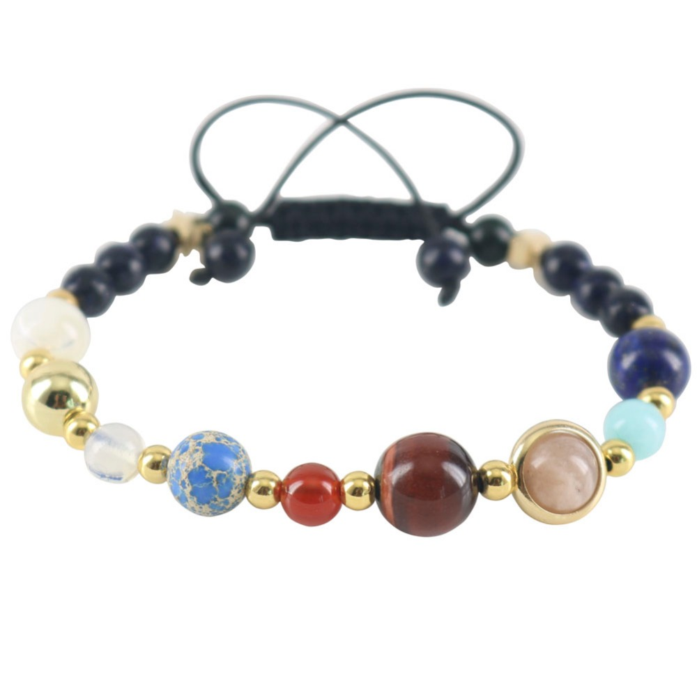 Handmade Universe Galaxy The Eight Planets In The Solar System Guardian Stars Stones Beads Women Wrap Bracelets Bangles