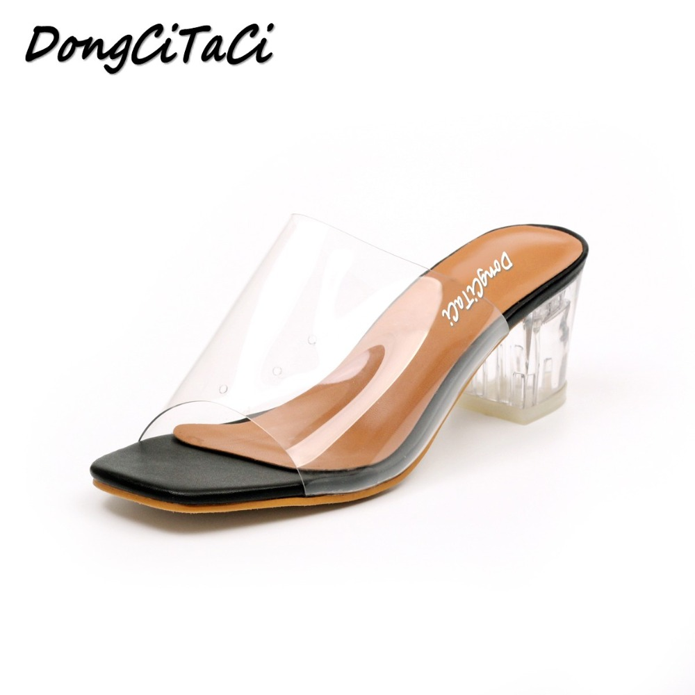 Dongcitaci Sandals Shoes Transparent Crystal Thick-Heels Fashion Women Ladies New Retro