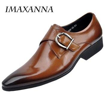 IMAXANNA nowe męskie skórzane buty męskie płaskie klasyczne męskie buty sukienka skórzane włoskie formalne buty męskie Oxford Plus rozmiar 38 -48