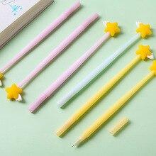 цена на 3 pcs Mini yellow star gel pen set 0.5mm ballpoint Black color ink pens writing gift Stationery Office School supplies A6620