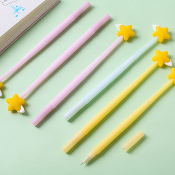 3 pcs Mini yellow star gel pen set 0.5mm ballpoint Black color ink pens writing gift Stationery Office School supplies A6620 3pcs beautiful star and moon gel pen set 0 5mm black color ink pens writing girl gift stationery office school supplies a6538