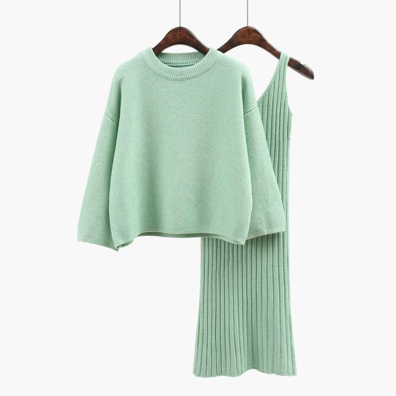 2017 autumn womens new style Korean fashion casual elegant slim o neck flare sleeve three quarter solid grey two piece set