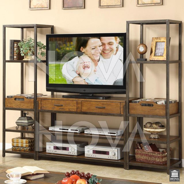 French Country Vintage Wrought Iron Wood TV Cabinet TV Cabinet Living Room  Wall Cabinet Bookcase Cabinet