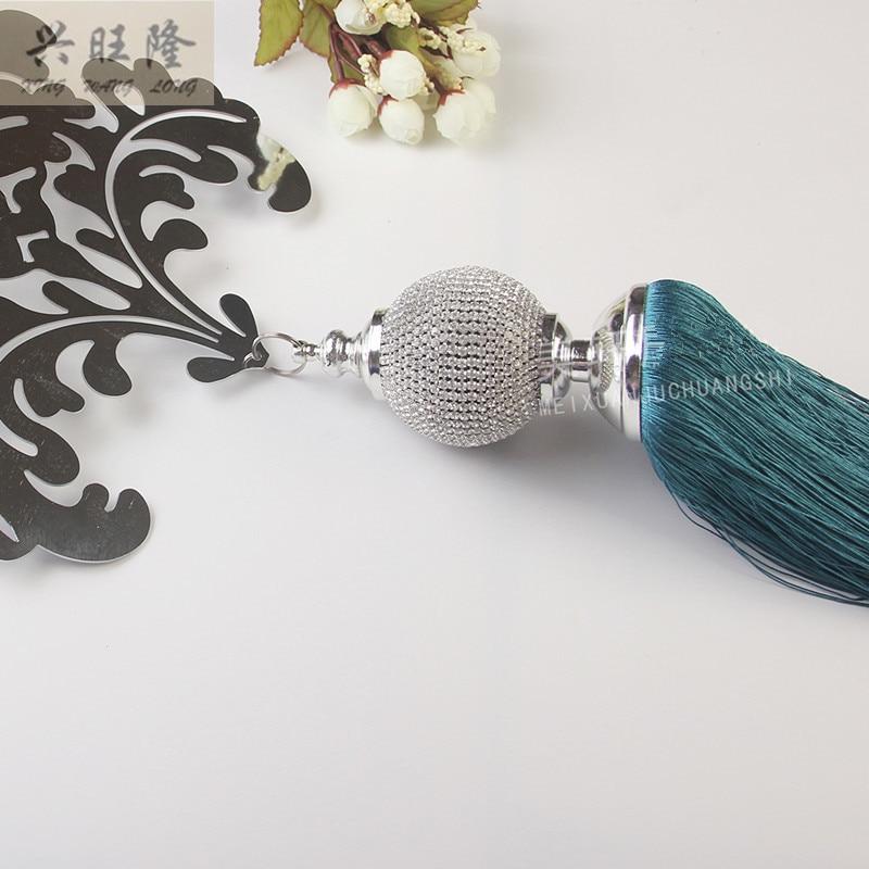 1Pcs Luxury Iron Crystal Ball Long Tassel Curtain Hanging Belt Curtain Accessories Strap Tieback Buckle Villa Lashing Bind