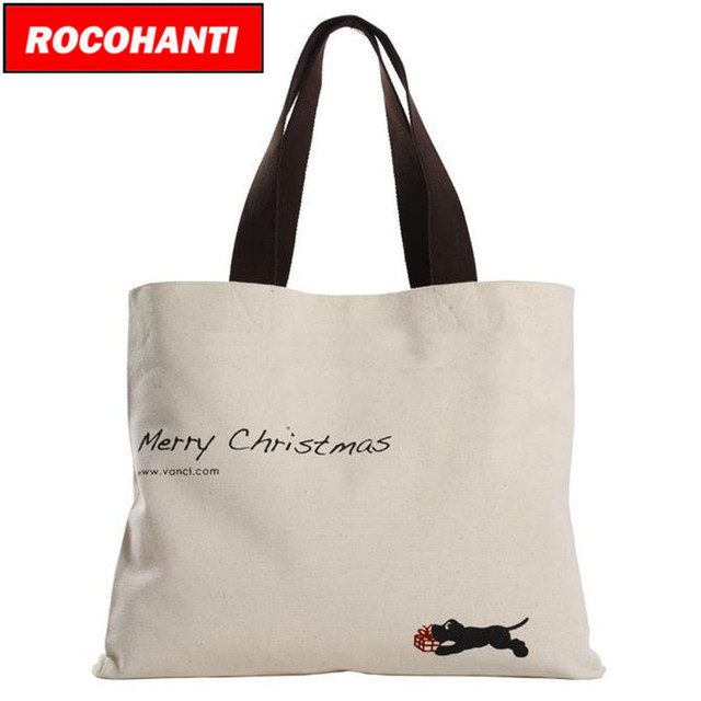 Rocohanti 50x Promotional Pretty Design Custom Printed Cotton Canvas Tote Bags With Colored Handles Eco
