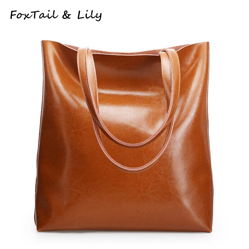 FoxTail & Lily Luxury Quality Ladies Leather Handbags Women Shoulder Bag Famous Brand Designer Large Capacity Vintage Tote Bags