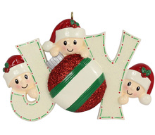 Joy Family Members of 3 polyresin glossy accents  personalized christmas tree ornaments for home  decorations