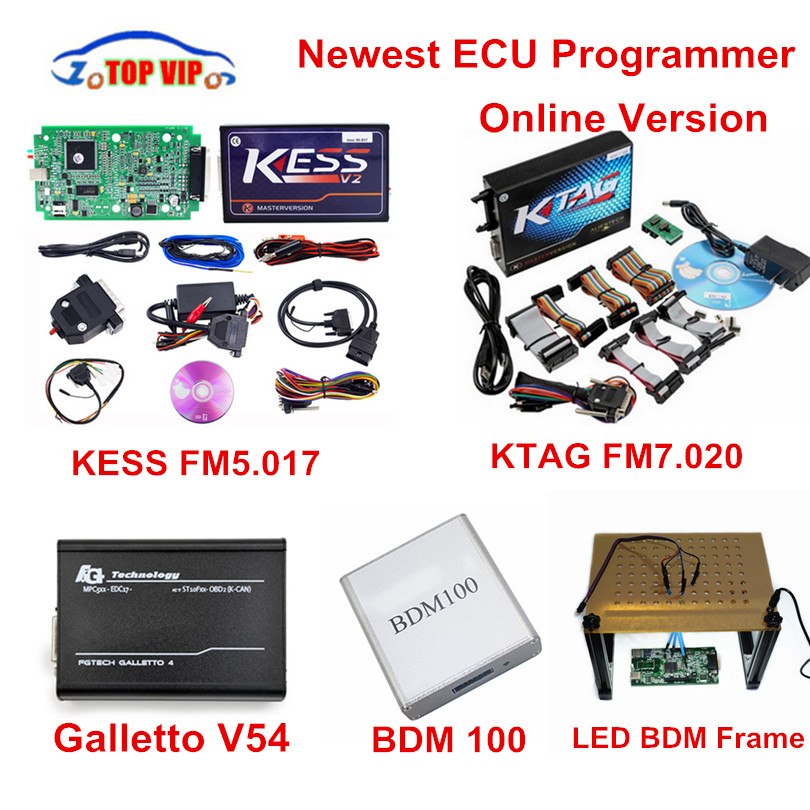 Newest!! KESS 5.017 ECU Programmer Online Master+ KTAG 7.020 + Galletto V54+Newest LED BDM Frame+BDM 100 KESS V2.23 Full Set 2017 online ktag v7 020 kess v2 v5 017 v2 23 no token limit k tag 7 020 7020 chip tuning kess 5 017 k tag ecu programming tool