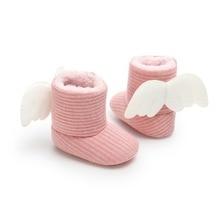 Зимние вязаные свитера для девочек Теплая обувь милые теплые детские Детский комплект для новорожденных и детей ясельного возраста, очень теплые, крылья, полет сапоги