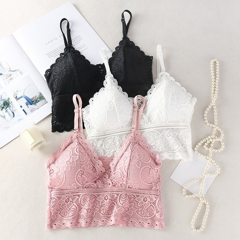 Women Sexy Wireless Bra Padded Bralette Deep V Lace Bras Summer Crop   Top   Embroidery Floral Spaghetti Strap   Tank     Top   Streetwear