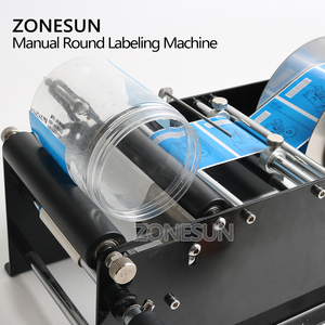 Image 3 - ZONESUN Manual Round Labeling Machine With Handle Bottle Labeler Label Applicator Glass Metal Bottle
