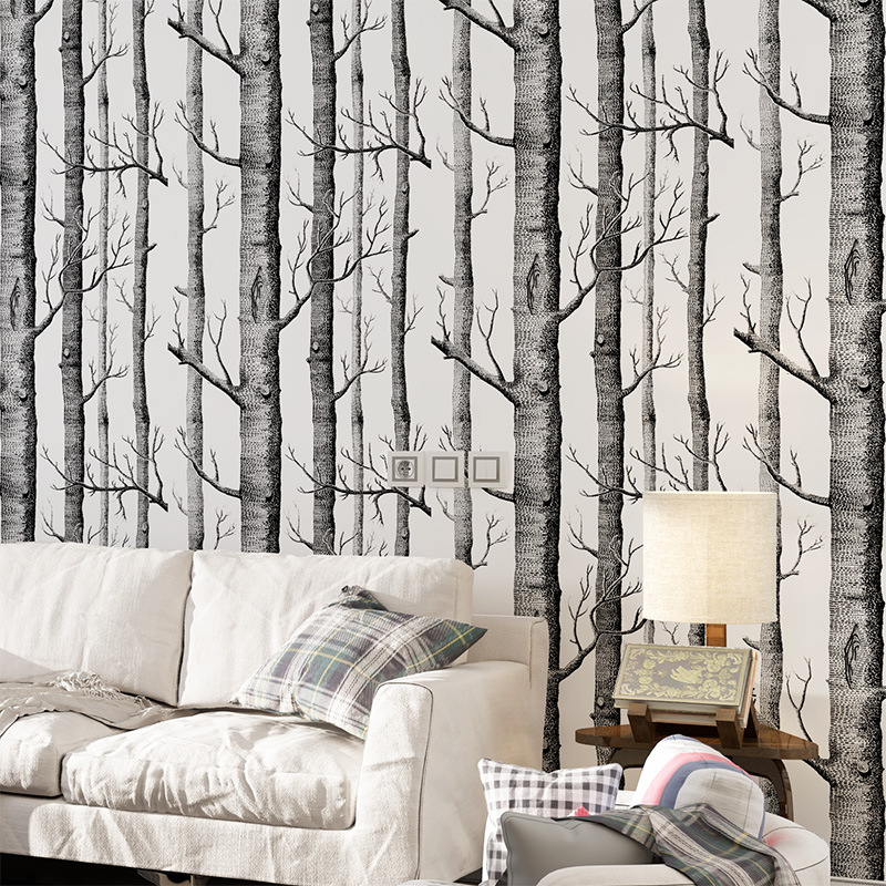 Forest tree branch Modern simple Entrance wallpaper Sofa wall bedroom TV background wall sticker Non woven fabric wallsticker in Wall Stickers from Home Garden