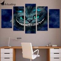 5 unidades impresiones de lienzo arte de la pared del gato de Alice Wonderland pintura imagen imprimir Decoración para el hogar la sala de estar envío libre xa1217