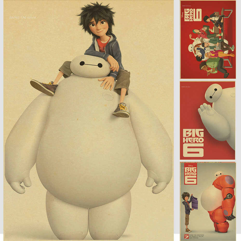 Dropship grande hero 6 baymax/cartoon movie classic/carta kraft/bar manifesto/retro poster/pittura decorativa