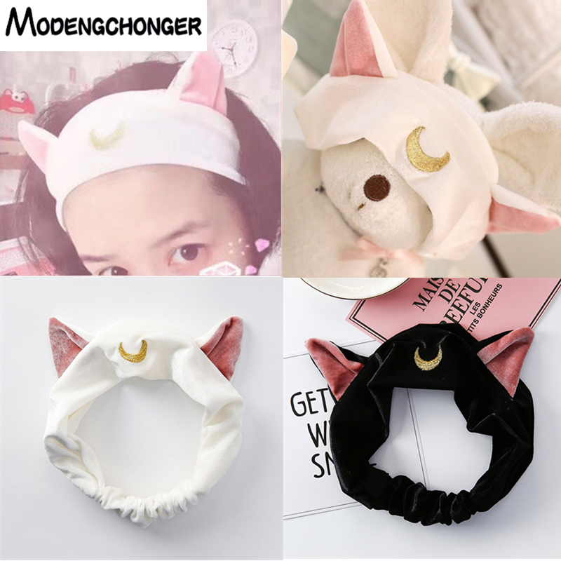 Current Hairband For Women Girls Cat Ears Head Band Party Gift Elastic Headbands Headdress Makeup Tools Yoga Hair Accessories