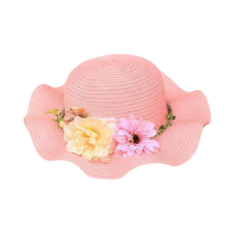 2018 Summer Children Flower travel cap Simple Wavy large brimmed straw hat boys girls Beach Hats age for 3 8 years old in Hats Caps from Mother Kids