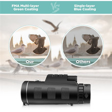 Outdoor Camping Accessories 40X60 Dual Focus Monocular Telescope with Phone Holder Night Vision Monoculars #4A24