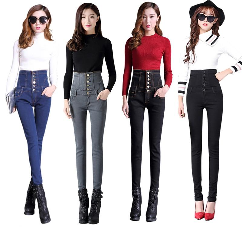 Plus Size 6XL Plus Velvet Thicken Skinny Jeans Woman Winter High Waist Pencil Jeans Femme Long Denim Pants Trousers Women C5672 Jeans Women Bottom ! Plus Size Women's Clothing & Accessories