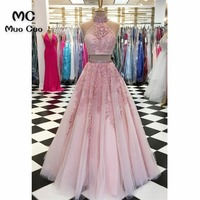 2 Pieces Gown 2018 Blush Pink Prom Dresses Long with 3D Appliques Vestido Longo Beaded Formal Evening Party Dress for Women