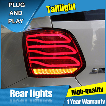 2PCS Car Styling for Volkswagen polo Taillights 2011-2018 for polo LED Tail Lamp+Turn Signal+Brake+Reverse LED light