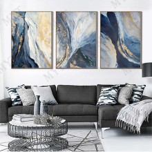 Hand Painted Wall art Picture Abstract blue cloud landscape oil painting handmade for Living room bedroom home decor no framed(China)