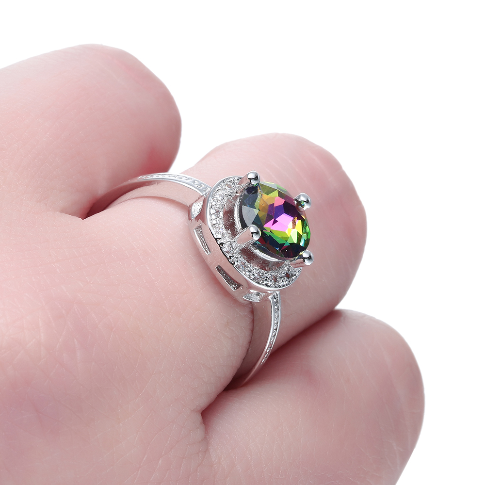 Fashion Women Lady Colorful Rainbow Rhinestone Crystl Metal Silver ...