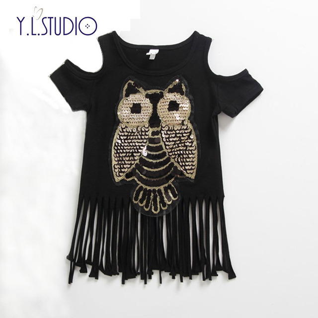 9e78b73835 US $5.99 40% OFF|Y.L.Studio Baby girl/ Children's clothing cotton fashion  short sleeve animal gold sequins tassles long O neck T shirt /pullover-in  ...