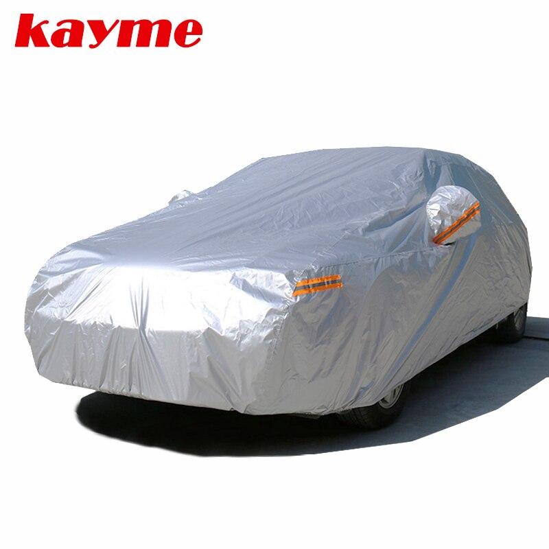 Kayme étanche voiture couvre soleil en plein air protection couverture pour voiture réflecteur poussière pluie neige de protection suv berline à hayon complet s