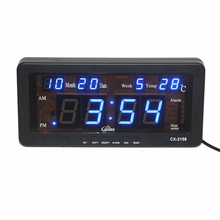 Electronic LED Alarm Clock with Date Temperature and Week Hourly Chime Table Desk Clock LED Digital Wall Clock for Living Room