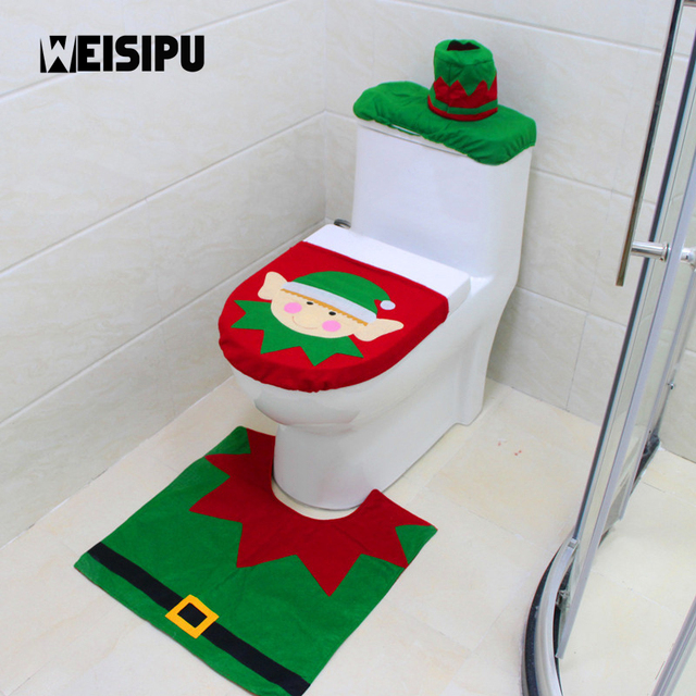 WEISIPU 1 Set Fancy Christmas Elf Toilet Seat Cover Rug Bathroom Set  Decoration Rug Christmas Decoration