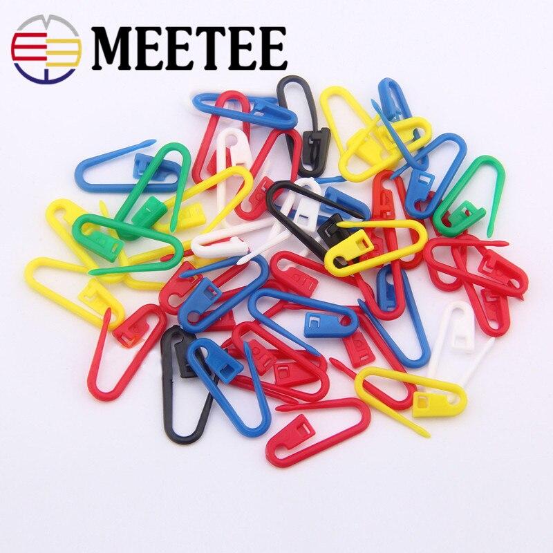 100pcs Colorful Plastic Safty Pins Mark Buckle Knitting Needle Clip Craft Crochet Locking Baby Yarn DIY Weaving Tools