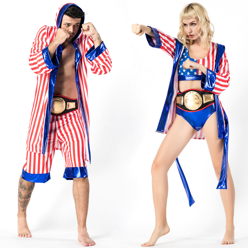 Mens Women American Flag Boxer Costume Rocky Balboa Boxing Robe Fancy Dress Shorts Movie Boxing Robe Costume Kids