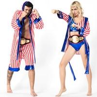 Mens Women American Flag Boxer Costume Rocky Balboa Boxing Robe Fancy Dress Shorts Movie Boxing Robe Costume Kids