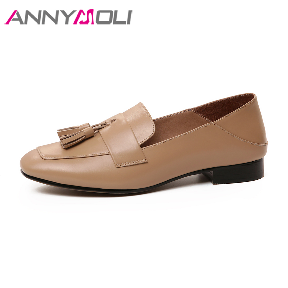 ANNYMOLI 2018 Shoes Women Natural Leather Flats Shoes Slip Loafers Fringe Round Toe Shoes Spring Big Size 41 42 Female Loafers new women flats shoes leather round toe shoe ladies fashion leather girl shoes slip on work footwear spring summer big size