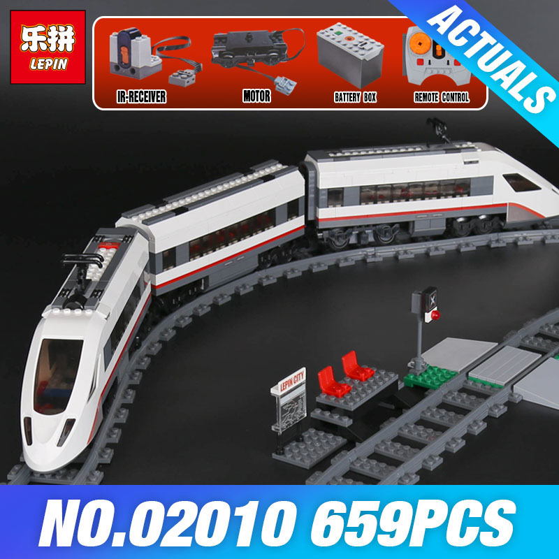 Lepin 02010 Genuine The High-speed Passenger Train Set Educational City Series 60051 Building Blocks DIY Bricks boys girls gift lepin 02010 610pcs city series building blocks rc high speed passenger train education bricks toys for children christmas gifts