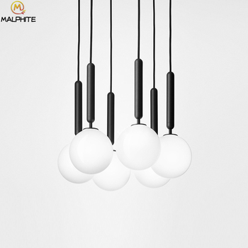 modern White glass ball hanging pendant lights Golden Exclamation number suspension pendant lamps luminaires Iron decor lighting