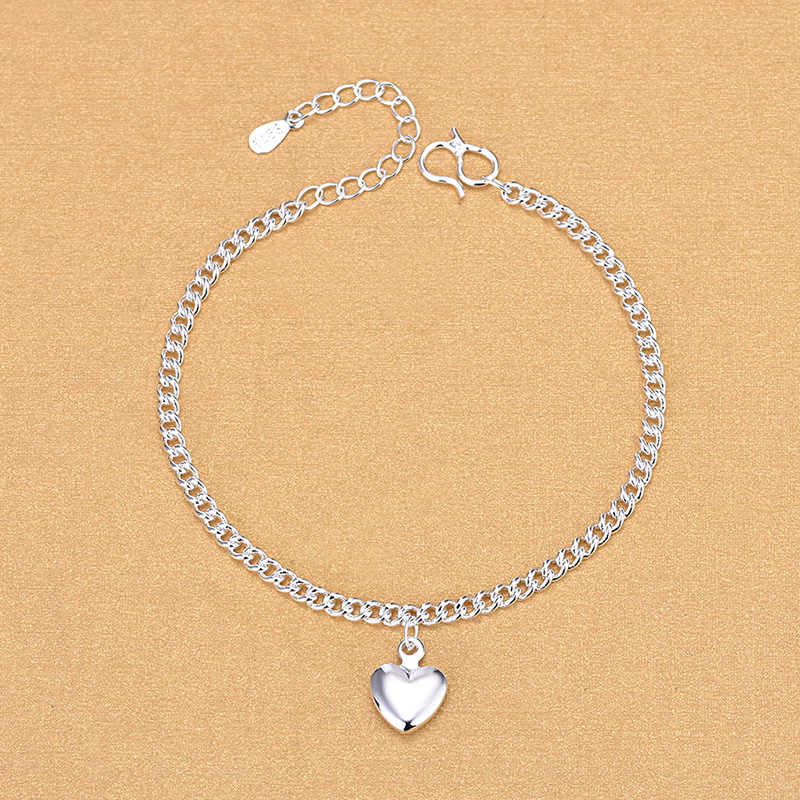 Free Shipping Top Quality Wholesale Real 925 Sterling Silver Link Chain Bracelets With Heart Charm Bracelets Fine Jewelry