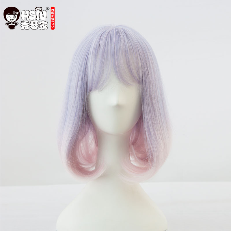 HSIU NEW High quality Purple gradient pink Synthetic Hair Cosplay Wig lolita wig Costume Play Wigs Halloween Costumes Hair lolita princess roll split cosplay costume wig 65cm chip on synthetic cos hair free shipping
