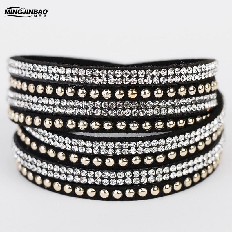 Wrap Wristband Cuff Punk Crystal Rhinestone Multilayer Bracelet Bangle New FR