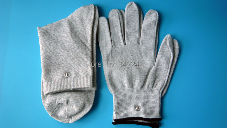 Very good quality Silver fiber physical therapy TENS socks gloves Family personal massager Neuromuscular stimulation foot massage socks tens electrode socks silver fiber socks care physical therapy socks contain tieline
