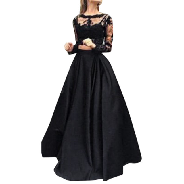 9b7d02d61a1c Fashion Women Black Elegant Party Long Maxi Pleated Skirts Floor Length Plus  Size Female A line Skirt With Lace Blouse M30MA17-in Skirts from Women's ...