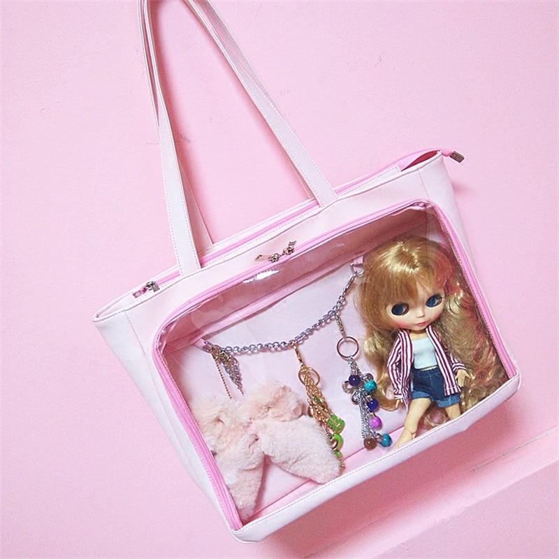 Lolita japonaise mignon Anime Transparent poupée Itabag sac à main femmes clair mignon sac à bandoulière Cosplay PU beau sac de messager