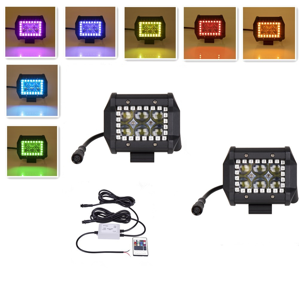 18W 3 LED Work Light Cubes Pods With RGB Halo Ring Spot Beam Offroad Led Light