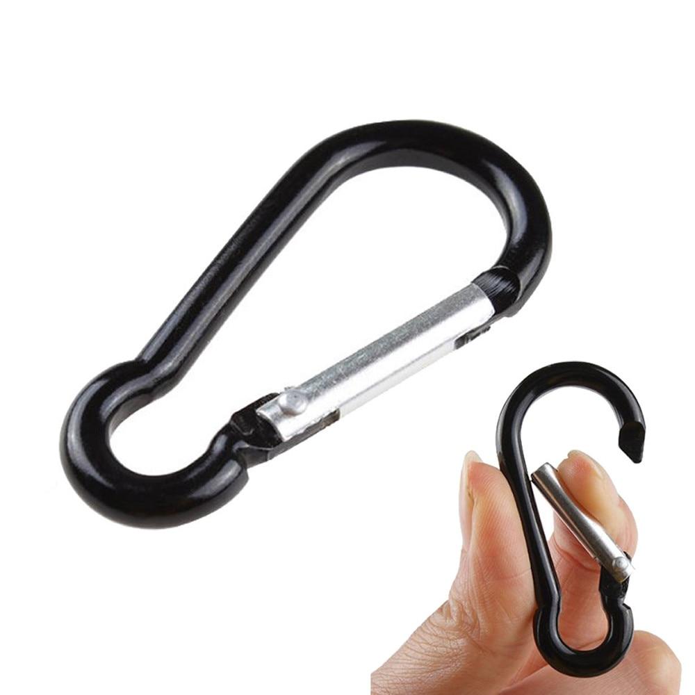 10 Pcs Black D Shaped Aluminum Alloy Carabiners Hooks Keychain Camping Hiking
