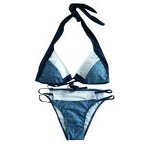 Women Bikini Push-up Plus Size Pattern Grey Geometric