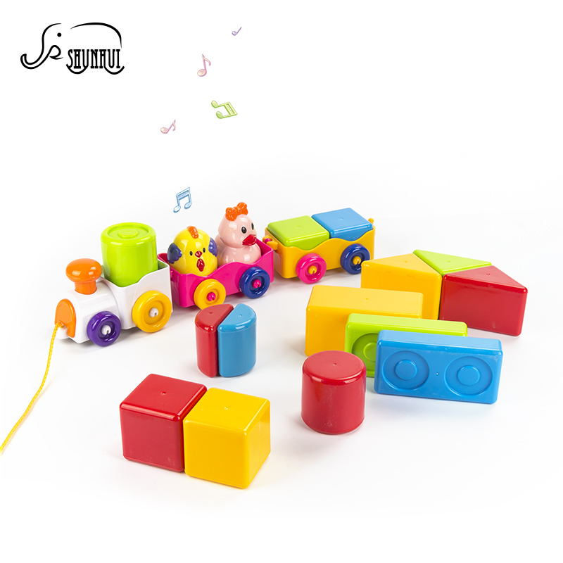 Objective Kids Diy Building Blocks Cartoon Stacking Train Toys Brinquedos Musical Plastic Vehicle Model Game Educational Toy For Children Blocks