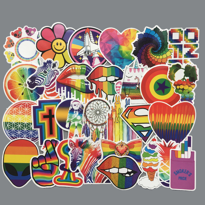 60 Pcs/set Rainbow Sexy Stickers for Gay LGBT Flag Gay Pride Decor Sticker on Laptop Car Phone Luggage PVC Waterproof Toys Gift(China)