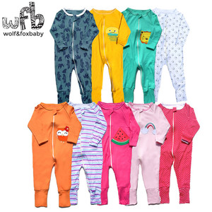 Image 1 - Einzelhandel 3 teile/paket 0 24 monate langhülse reißverschluss baby cartoon jungen mädchen insgesamt strampler kleidung kleidung