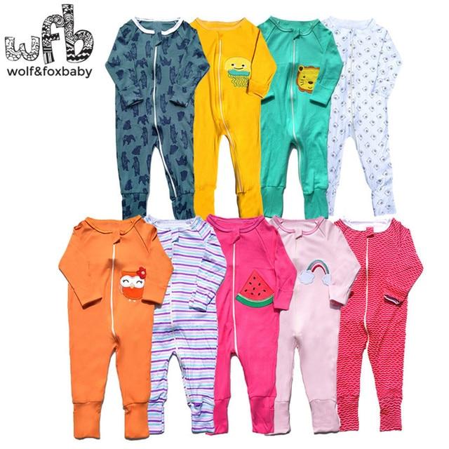 Einzelhandel 3 teile/paket 0 24 monate langhülse reißverschluss baby cartoon jungen mädchen insgesamt strampler kleidung kleidung